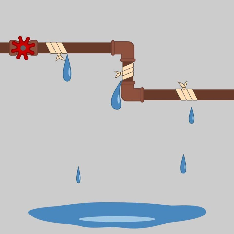 Procédure à suivre pour une réparation de fuite d'eau